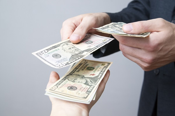 Convert dollars on gray background